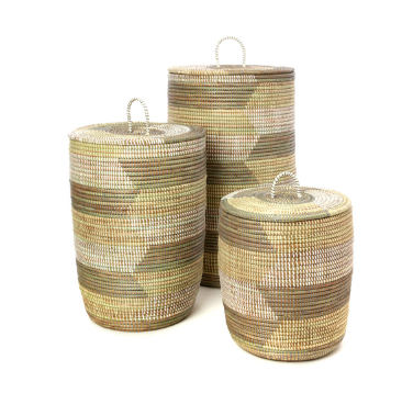 Set of Three Handwoven Cattail White, Cream & Gray Patterned Hamper Baskets, Fair Trade - Give Back Goods