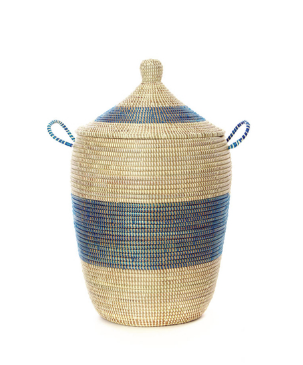 Set of Three Handwoven Cattail Blue & Cream Bath Hamper Baskets, Fair Trade - Give Back Goods