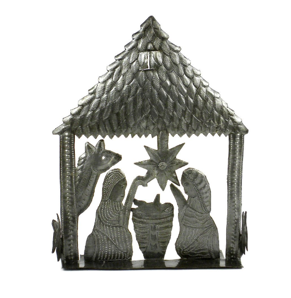 Handcrafted Tabletop Metal Nativity Scene- Made From Steel Drums in Haiti- Fair trade - Give Back Goods