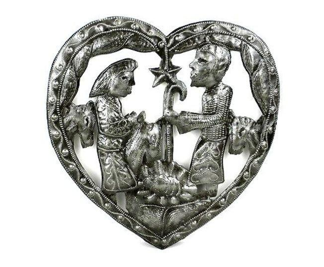 Handcrafted Metal Heart Nativity Wall Art- Made From Steel Drums in Haiti- Fair trade - Give Back Goods
