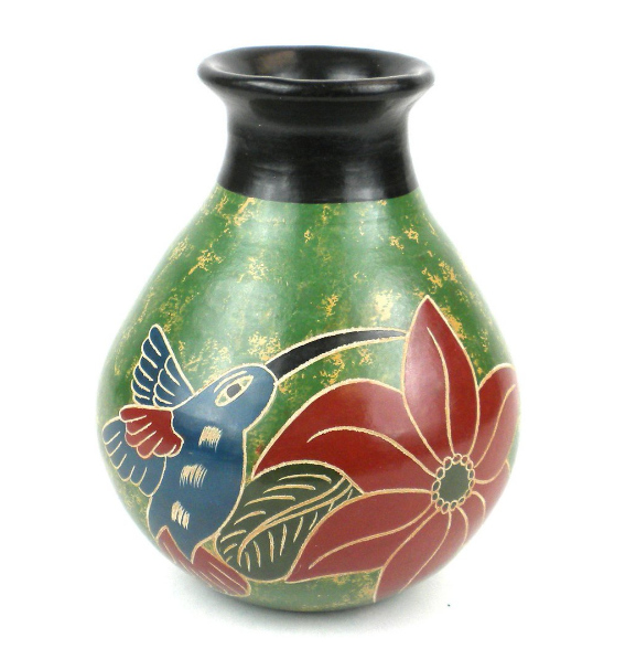 Handcrafted  Green Bird Flower Ceramic Vase- Nicaragua- Fair Trade