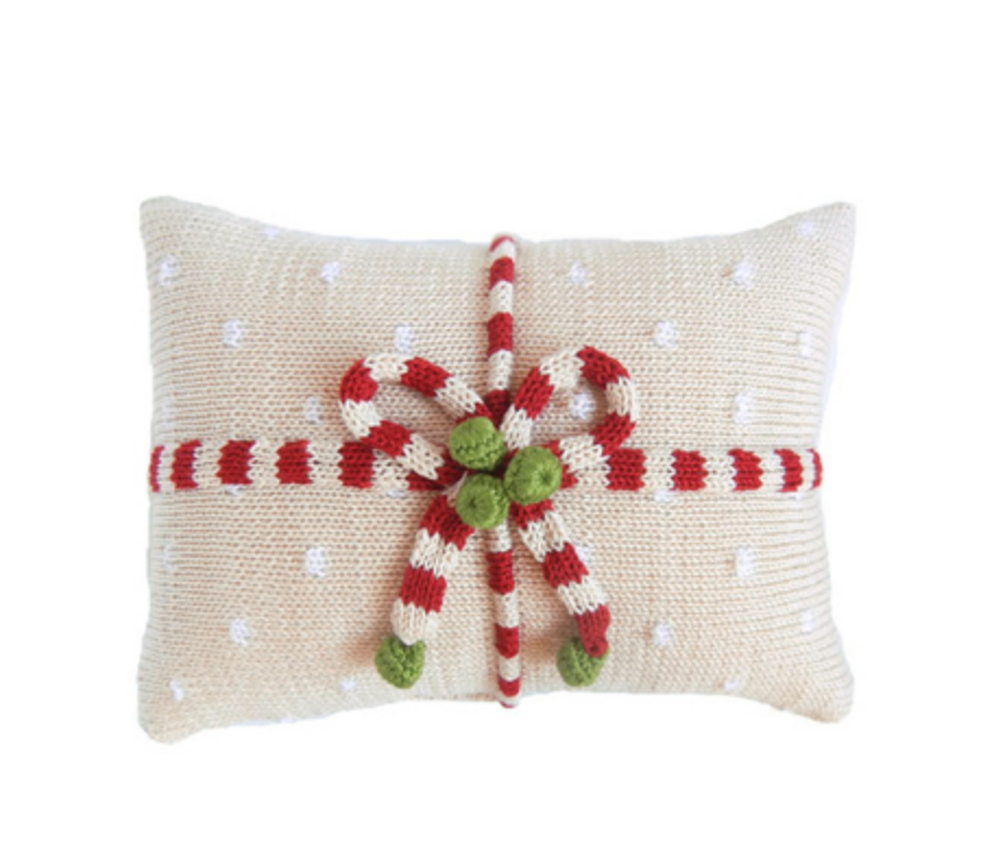 Hand Knit Christmas Pillow- Gift Candy Stripe & Dots- Fair Trade