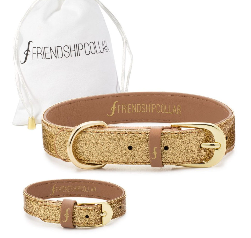 Gold Sparkle Dog Collar & Bracelet 4 You! -  Feeds 4 shelter pups! - Give Back Goods