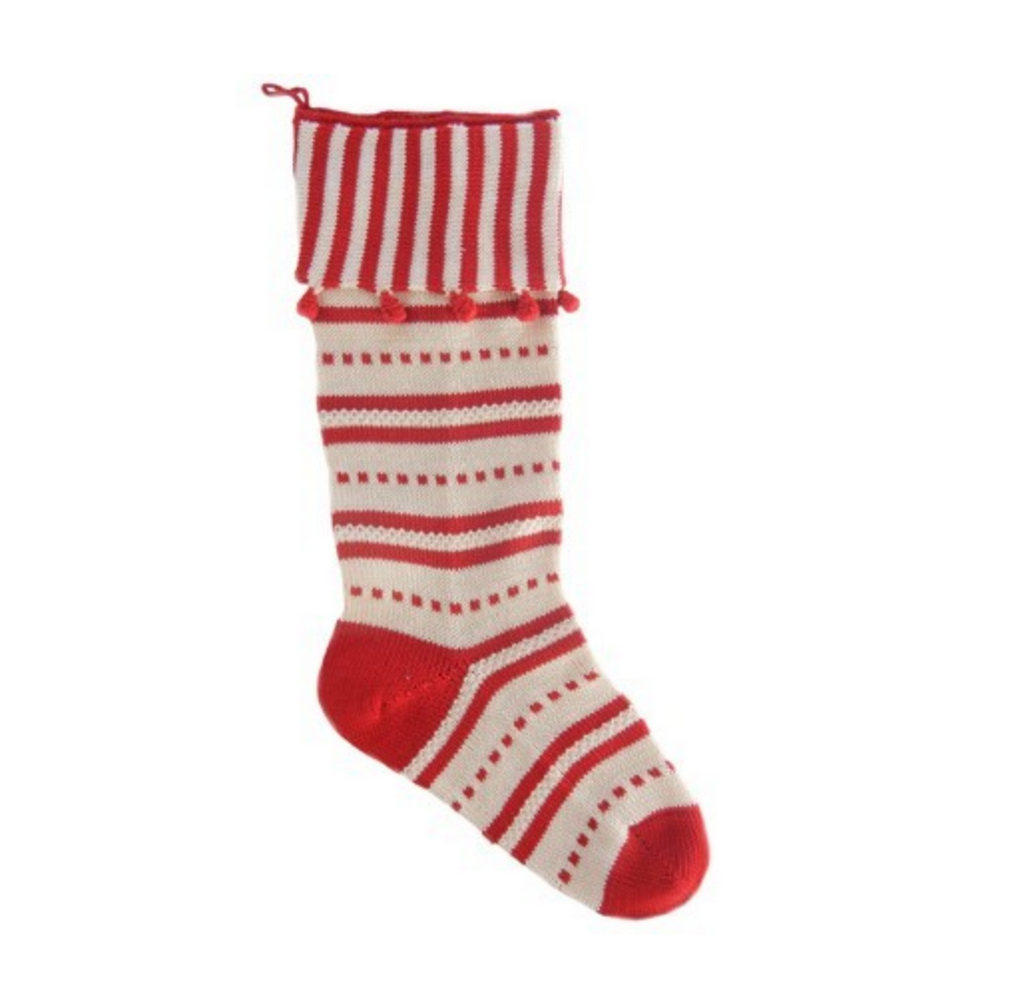 Hand Knit Red & White Striped Candy Cuff Christmas Stocking, Fair Trade - Give Back Goods