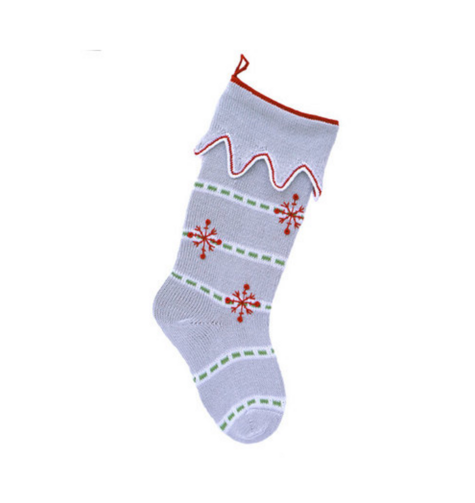 Hand made 3 Snowflake Grey Christmas Stocking, Fair Trade - Give Back Goods