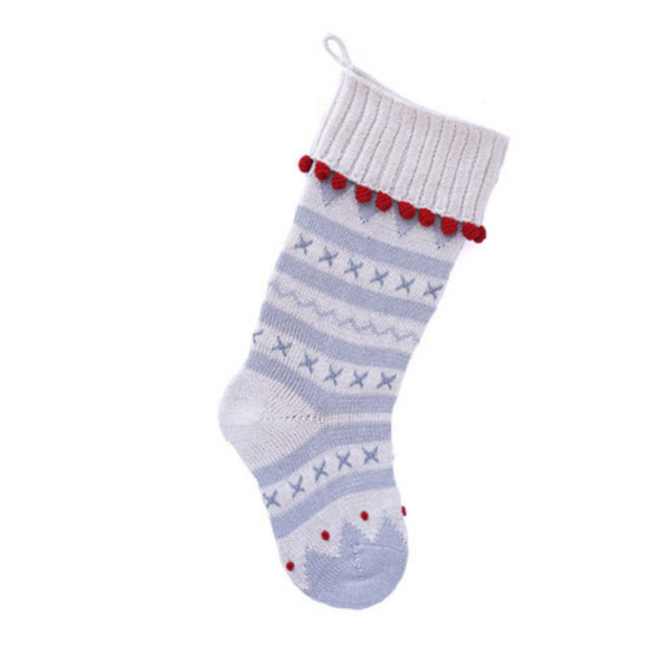 Hand made X Stitch Ribbed Cuff Christmas Stocking- Fair Trade- Supports Artisan Women in Armenia - Give Back Goods