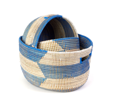Set of Three Handwoven Blue & Natural Nesting Baskets, Fair Trade - Give Back Goods