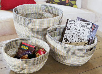 Set of Three Handmade Silver Herringbone Nesting Baskets- Fair Trade, Educates Artisans- Eco-Friendly - Give Back Goods