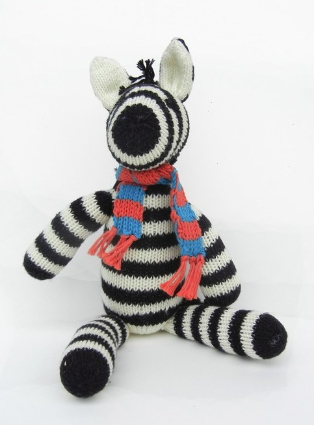 Hand knit Zebra Stuffed Animal, Fair Trade - Give Back Goods