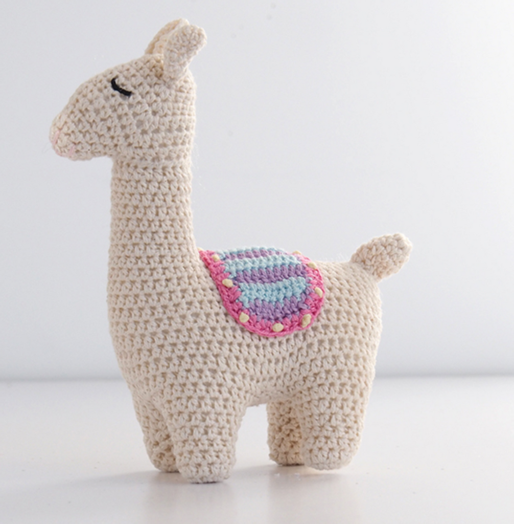 Set of 2 Hand Crocheted Stuffed Llamas - Helps Break the Cycle of Poverty - Give Back Goods