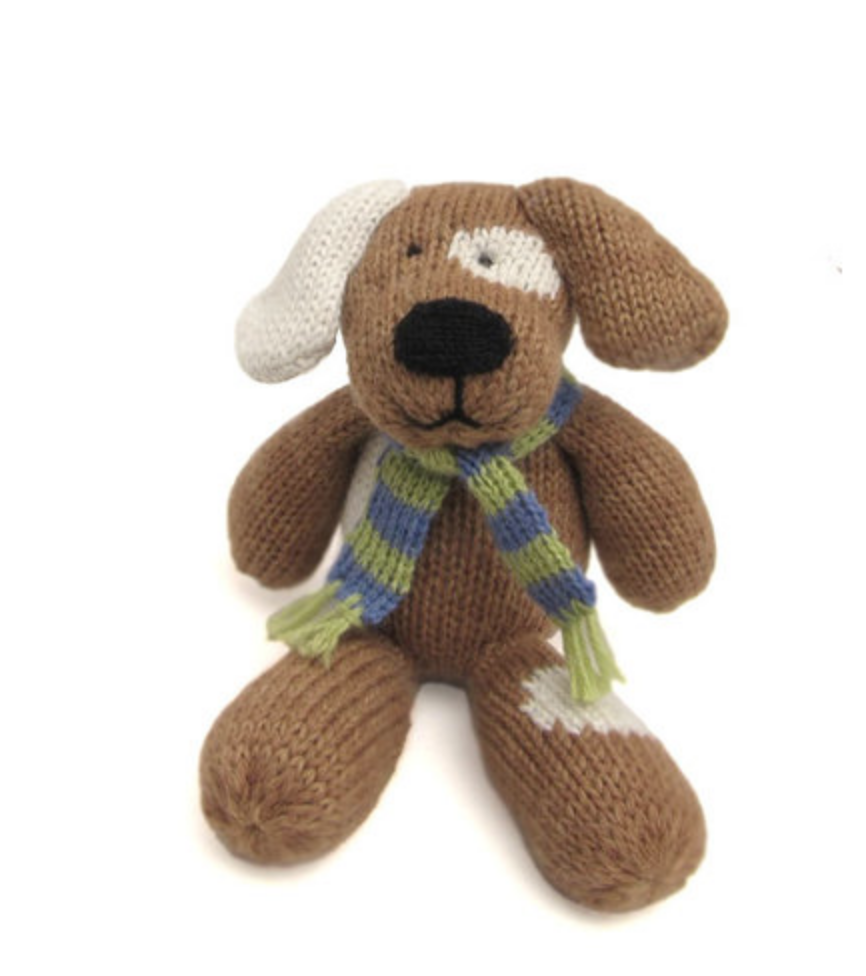 Hand Knit Light Brown Spotted Dog Stuffed Animal, Fair Trade - Give Back Goods