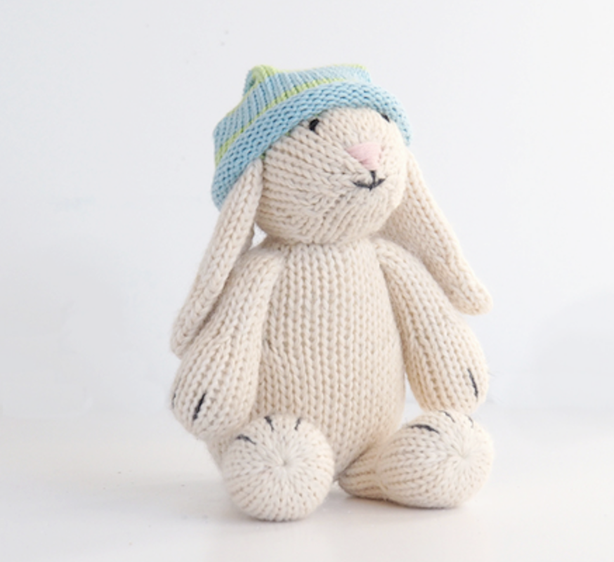 Hand Knit Bunny Stuffed animal - Support Fair Trade for Artisans