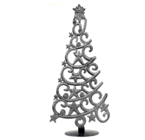 Handcrafted Tabletop Christmas Tree- Made From Steel Drums in Haiti- Fair trade - Give Back Goods