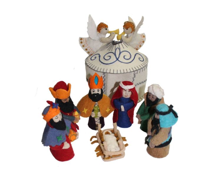 Handcrafted Felt Nativity Set and Stable- Made in Kyrgyzstan- Fair trade - Give Back Goods