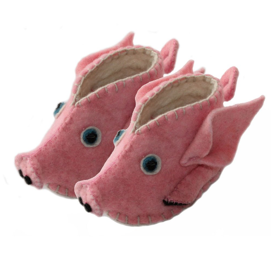 Handcrafted Wool Flying Pig Baby Booties- Made in Kyrgyzstan- Fair trade - Give Back Goods