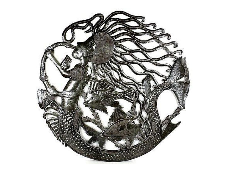"24"" Handcrafted Musical Mermaid Metal Wall Decor made from steel drums in Haiti- Fair trade - Give Back Goods"