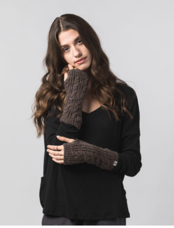 Fingerless gloves made from alpaca, wool and silk
