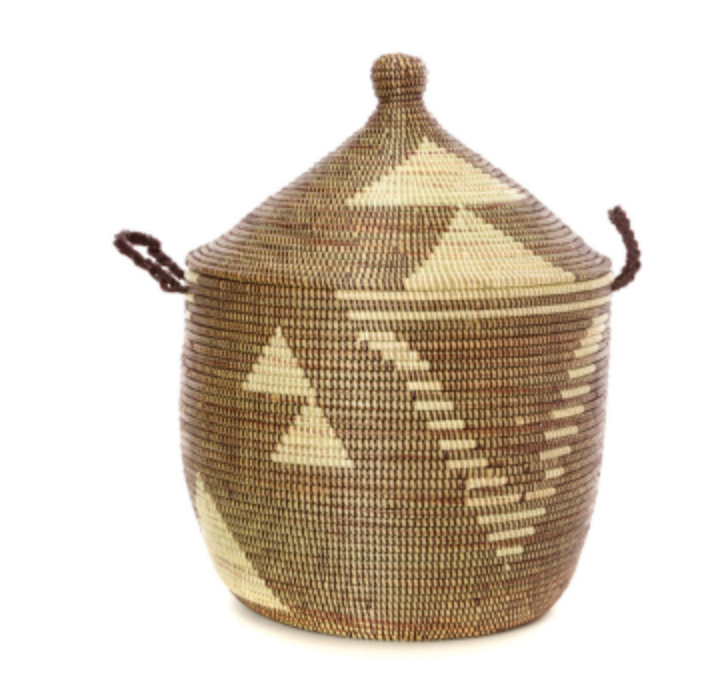 Brown & Cream Tribal Decorative Storage Basket- Fair Trade-Eco-Friendly