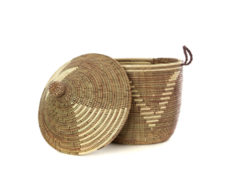 Brown & Cream Handwoven Cattail Decorative Storage Basket, Fair Trade - Give Back Goods