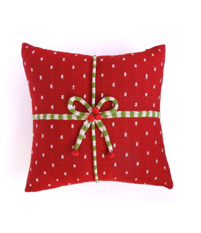 14 x14 Hand Knit Red Christmas Present Pillow, Fair Trade - Give Back Goods