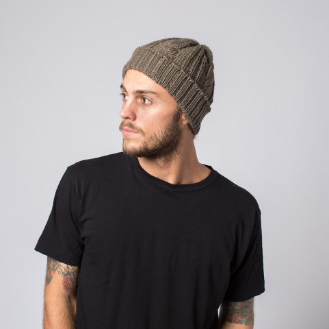 Handmade Chunky Cable Knit Wide Cuff Men & Women's Reed Beanie Hat- Fair Trade - Give Back Goods