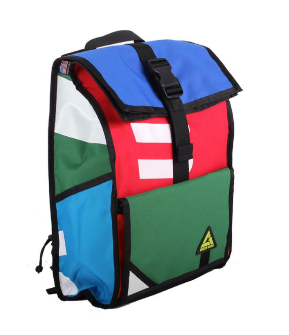 Upcycled Colorful Backpack- Made in the USA from Upcycled Fabrics & Street signs - Save Landfill Space! - Give Back Goods