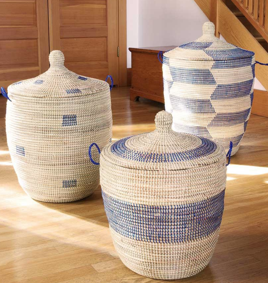 Set of Three Handmade Blue & Cream Bath Hampers/ Baskets- Fair Trade , Educates Artisans- Eco-Friendly - Give Back Goods