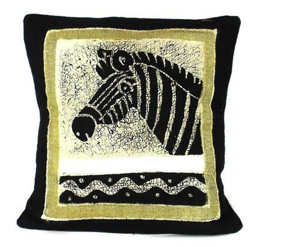 Handmade Batik Zebra pillow cover- Made in Zimbabwe - Support Fair Trade for Artisans - Give Back Goods