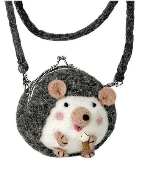 Handcrafted Felted Wool Hedgehog Children's Pocketbook - Made in Kathmandu- Fair trade- ONLY a few LEFT!!! - Give Back Goods