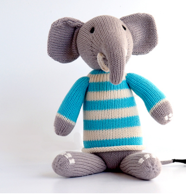 Hand Knit Cotton Elephant Stuffed Animal  - Support Fair Trade for Artisans - Give Back Goods