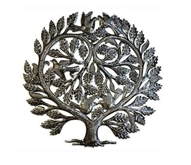 "24"" Tree of Life with Heart - Handcrafted from recycled steel Drums in Haiti- Fair trade - Give Back Goods"