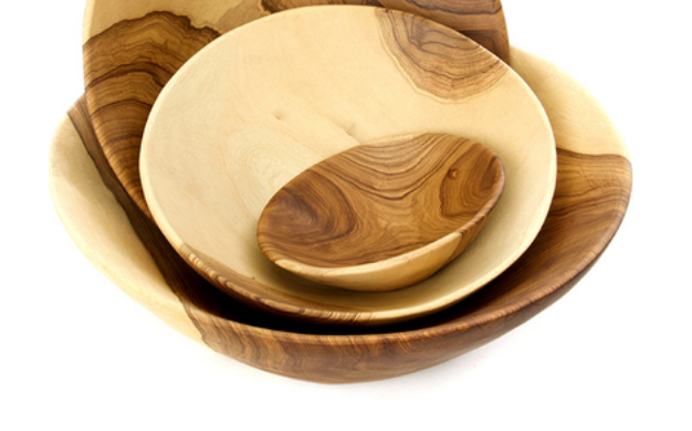 "Set of 3 Size 5""-10""-13""- Hand Carved Muzumina Wood Salad & Chip Bowls- Fair Trade- Sustainable"