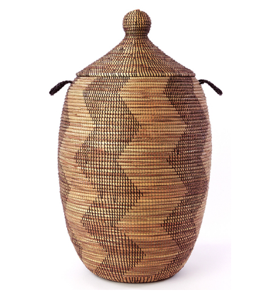 Extra Large Brown/Black Zig Zag Hamper Storage Basket, Fair Trade-Eco Friendly, Handmade