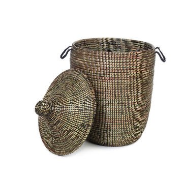 Black Decorative Handwoven Cattail Hamper Basket, Fair Trade - Give Back Goods