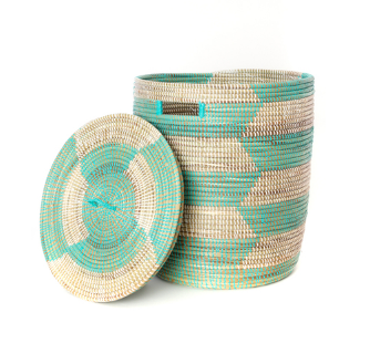 Handwoven Aqua & White cattail Hamper Laundry Storage Basket, Fair Trade, Eco Friendly - Give Back Goods