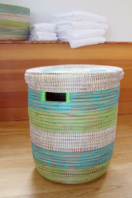 Aqua Green & White Hamper Laundry Storage Basket- Fair Trade, Eco-Friendly - Give Back Goods