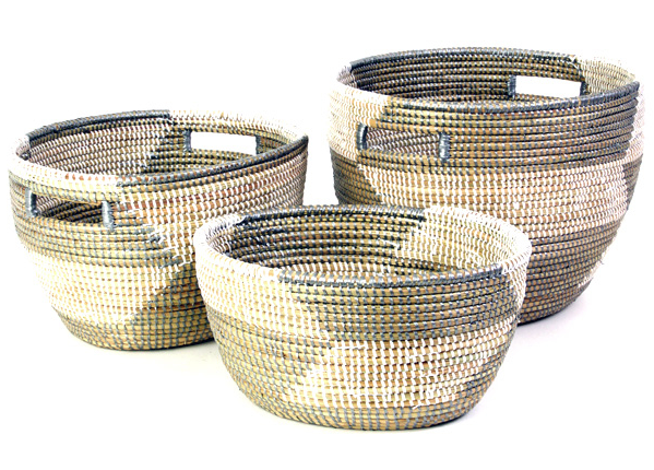 Set of 3 Handmade Silver Herringbone Nesting Sewing Baskets- Fair Trade, Educates Artisans- Eco-Friendly