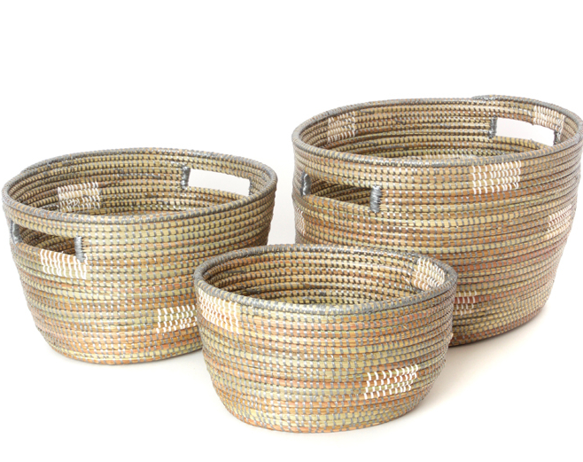 Set of 3 Handmade Grey Pixel Nesting Sewing Baskets, Fair Trade, Eco-Friendly - Give Back Goods