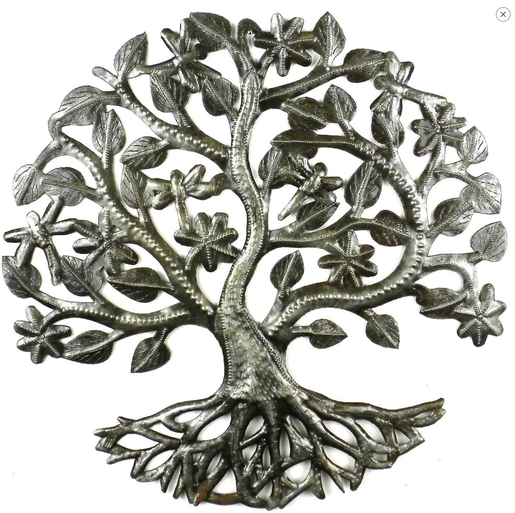 Tree of Life with Dragonfly Metal Wall Decor- handcrafted from steel drums in Haiti- Indoor/outdoor - Give Back Goods