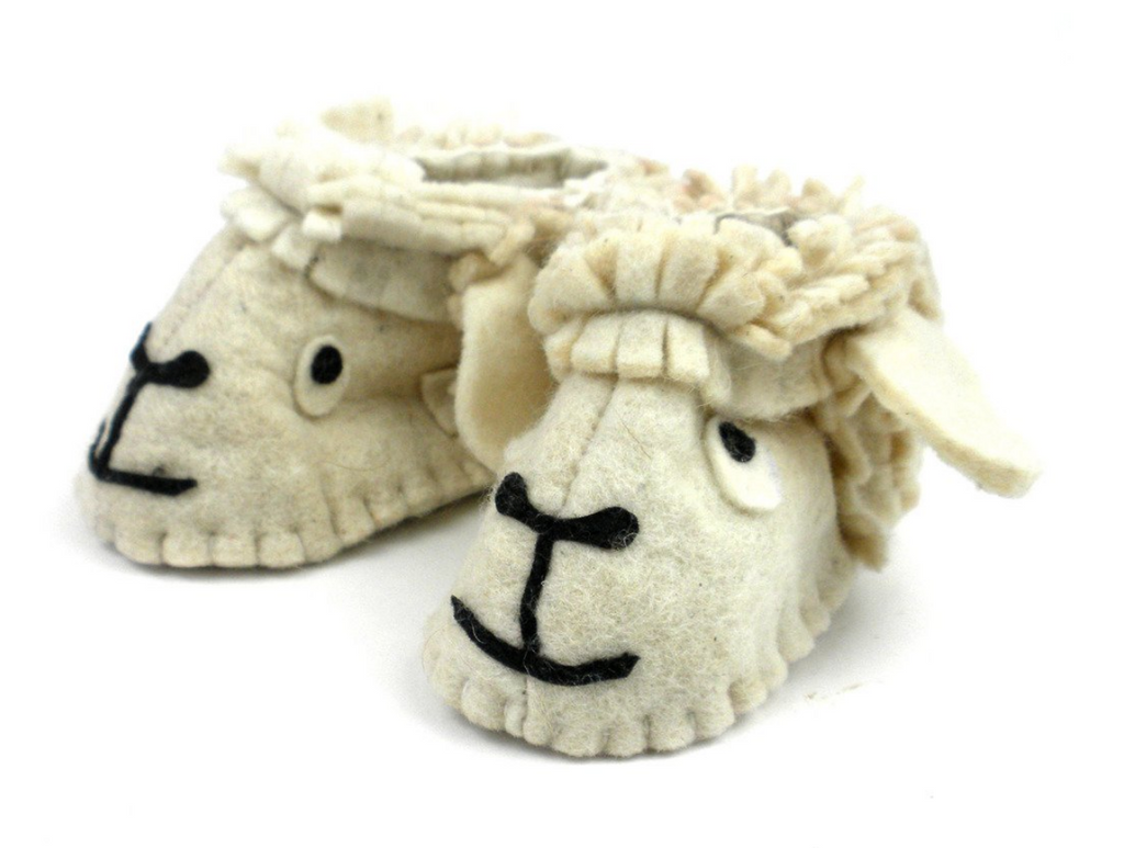 Handcrafted Wool Lamb Baby Booties- Made in Kyrgyzstan- Fair trade - Give Back Goods