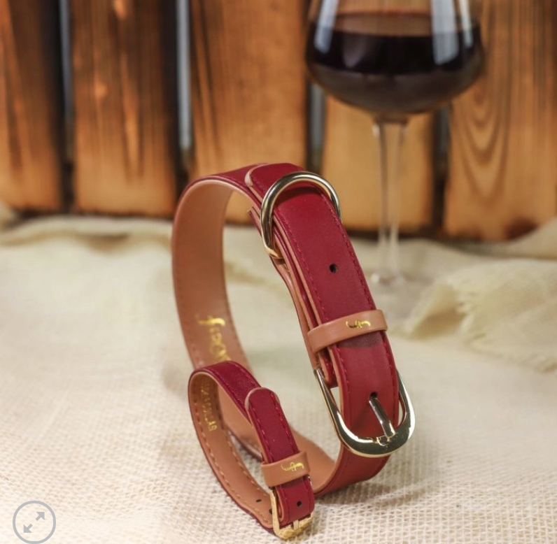 Classic Bordeaux Dog Collar and Matching Bracelet For You! - Vegan - Feeds 4 shelter pups!