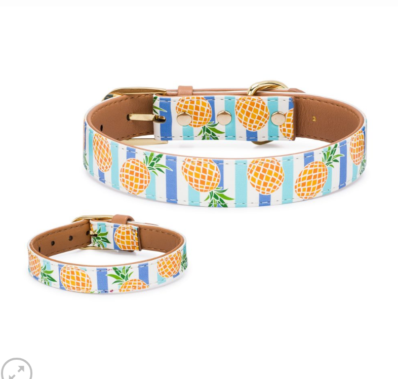Pina Colada Dog Collar and Matching Bracelet For You! - Vegan - Feeds 4 shelter pups! - Give Back Goods