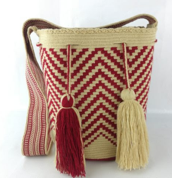 Large Wayuu Bag - one-of -a kind, Red & Natural-Hand Crafted- Fair Trade