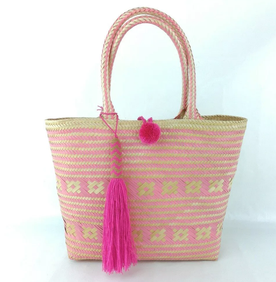 Pink Medium Wayuu Basket Bag - one-of -a kind - Hand Crafted- Fair Trade