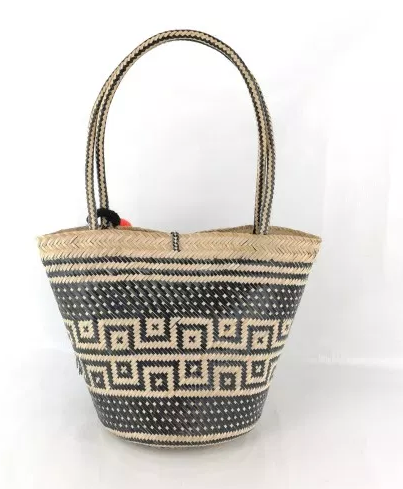 Wayuu Basket Bag - one-of -a kind -  Black & Natural - Hand Crafted- Fair Trade