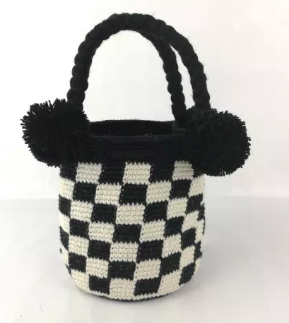 Mini Wayuu Bag, one of a kind, Hand Crafted & Fair Trade, Black & Natural - Give Back Goods