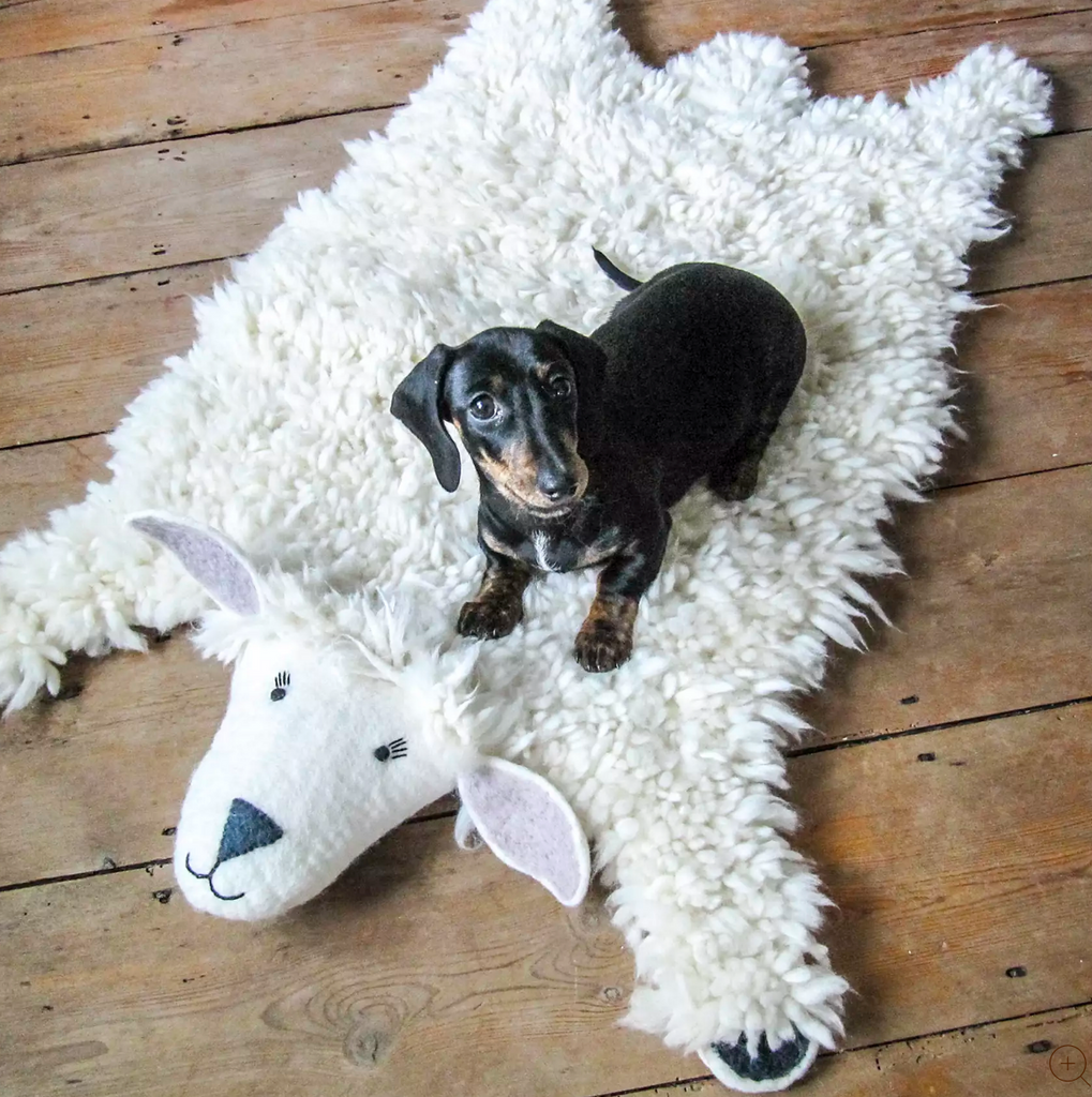 Kid's Animal Rug, Sheep, Supports Fair trade Artisans in Nepal - Give Back Goods
