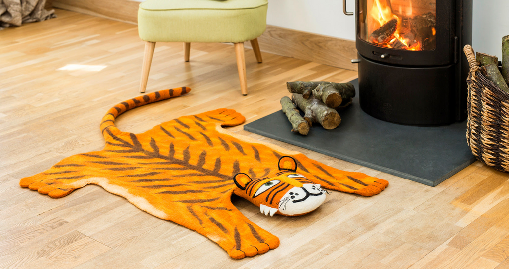 Tiger Kids Rug, Supports Fair trade Artisans in Nepal - Give Back Goods