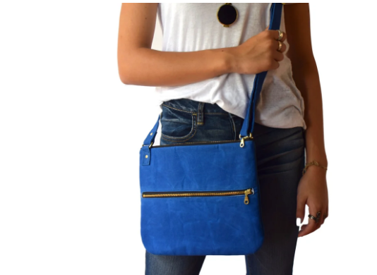 Waxed Organic Canvas Cross Body Purse- Blue, Black & Olive- Saves Landfill Space - Give Back Goods