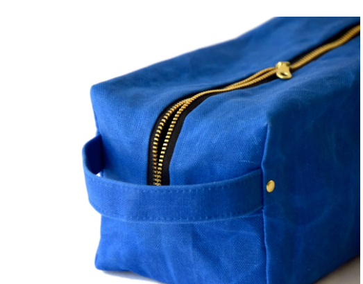 Waxed Repurposed Canvas Cosmetic / Dopp Toiletry Bag- Cobalt, Black, Olive & Hot Pink- Saves Landfill Space - Give Back Goods